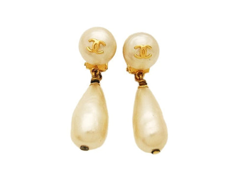 Authentic vintage Chanel earrings CC logo white pearl drop dangle