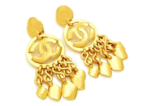 Authentic vintage Chanel earrings gold CC logo swing charm dangle