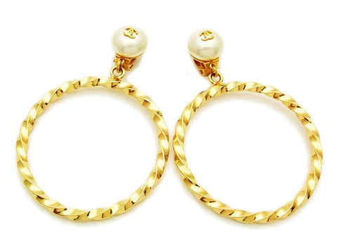 Authentic vintage Chanel earrings CC logo pearl twisted hoop dangle