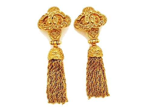 Authentic vintage Chanel earrings gold CC cross tassel fringe dangle