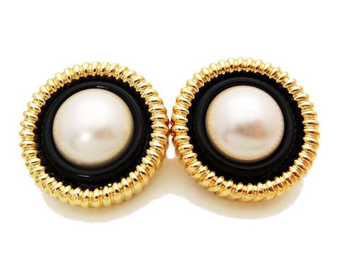 Authentic vintage Chanel earrings gold black white pearl large round