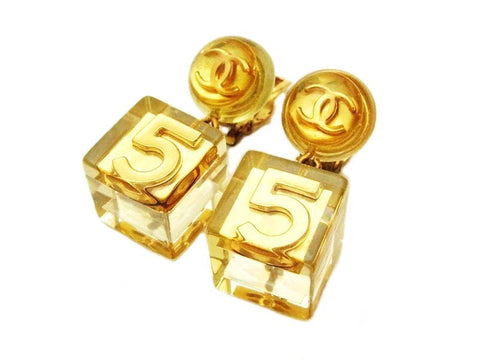 Authentic vintage Chanel earrings gold CC No.5 clear cube dangle real