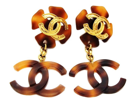 Authentic vintage Chanel earrings CC brown clover dangle jewelry rare