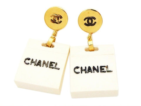 Authentic vintage Chanel earrings CC logo white bag dangle jewelry