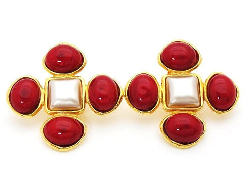 Authentic vintage Chanel earrings red glass stones white pearl cross