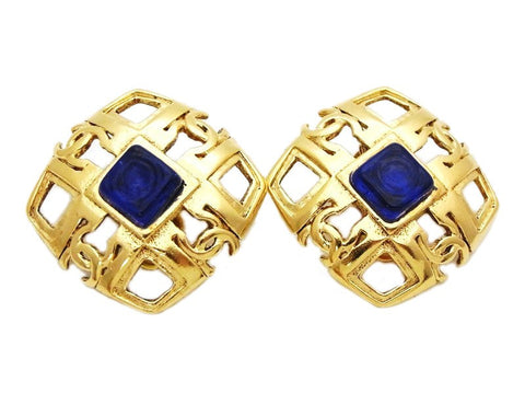 Authentic vintage Chanel earrings blue stone gold cc logo rhombus clip