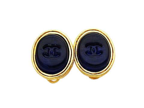Authentic vintage Chanel earrings navy blue glass stone CC jewelry