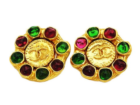 Authentic vintage Chanel earrings gold CC logo red green stone round
