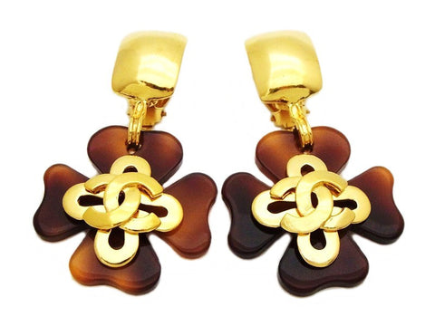 Authentic vintage Chanel earrings gold CC brown clover dangle jewelry