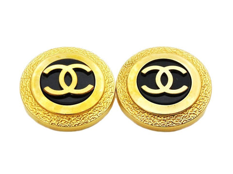 Authentic vintage Chanel earrings gold CC logo black round large sale