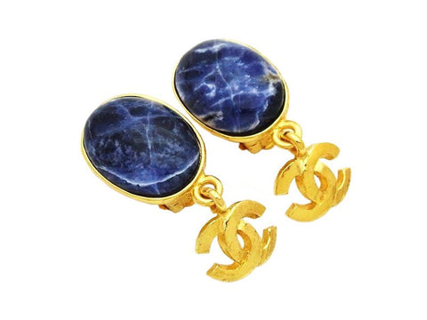 Authentic vintage Chanel earrings gold CC logo navy blue stone dangle