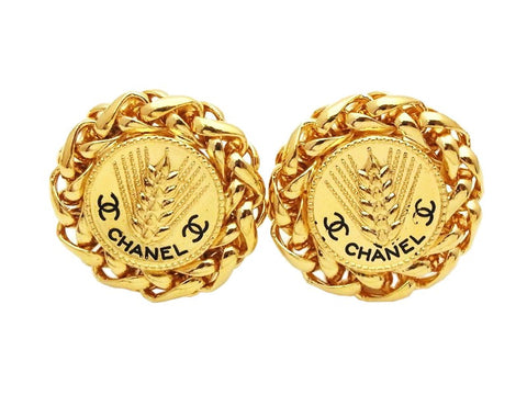 Authentic vintage Chanel earrings gold ear of rice CC logo round real