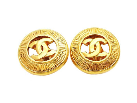Authentic vintage Chanel earrings gold CC logo double C round real