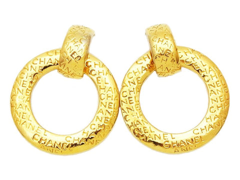 Authentic vintage Chanel earrings huge gold logo hoop dangle 2 way
