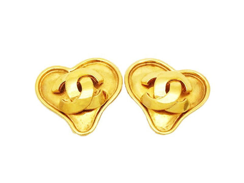 Authentic vintage Chanel earrings gold CC logo heart jewelry for sale
