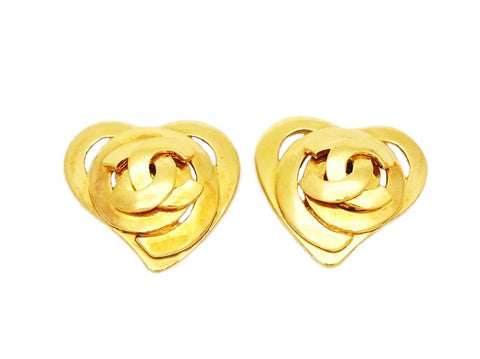 Authentic vintage Chanel earrings gold CC logo swirl heart jewelry