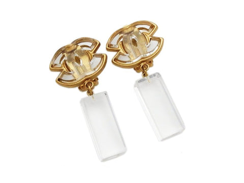 Authentic vintage Chanel earrings clear plastic CC logo dangle real