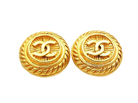 Authentic vintage Chanel earrings gold CC round classic real jewelry