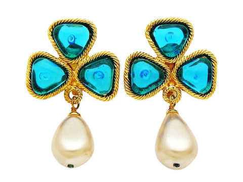 Authentic vintage Chanel earrings blue stone clover pearl drop dangle