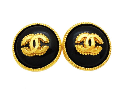Authentic vintage Chanel earrings gold CC black glass stone round real