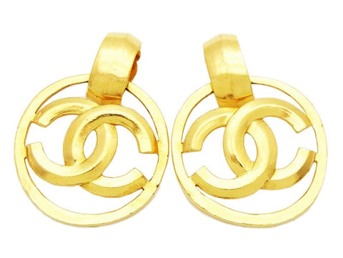 Authentic vintage Chanel earrings gold CC hoop dangle large jewelry