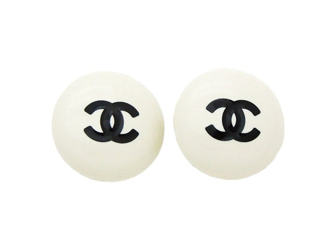 Authentic vintage Chanel earrings black CC white plastic round jewelry