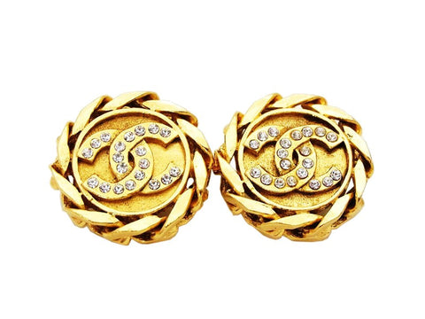 Authentic vintage Chanel earrings gold CC logo rhinestone round real