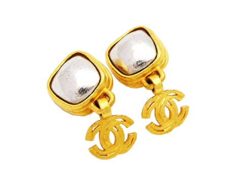 Authentic vintage Chanel earrings silver stone gold CC logo dangle