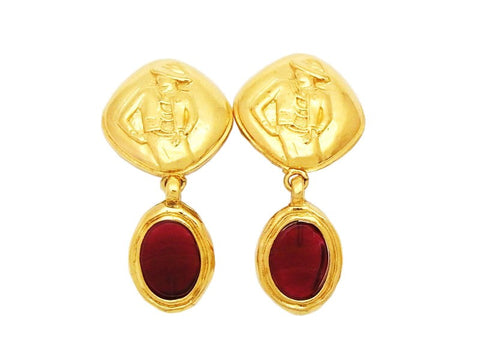 Authentic vintage Chanel earrings gold COCO red stone dangle earring
