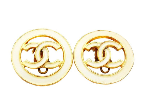 Authentic vintage Chanel earrings CC logo white painted round earring