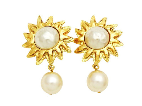 Authentic vintage Chanel earrings gold sun white pearl dangle jewelry