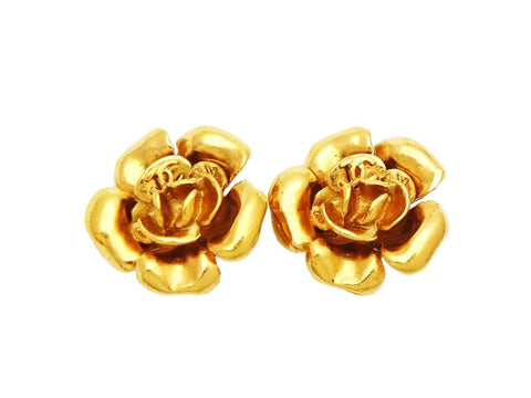Authentic vintage Chanel earrings gold camellia CC logo jewelry real