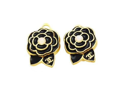 Authentic vintage Chanel earrings CC black camellia pearl classic