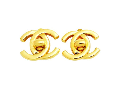 Authentic vintage Chanel earrings gold CC logo turnlock earrings real