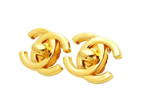 Authentic vintage Chanel earrings gold CC logo large turnlock jewelry
