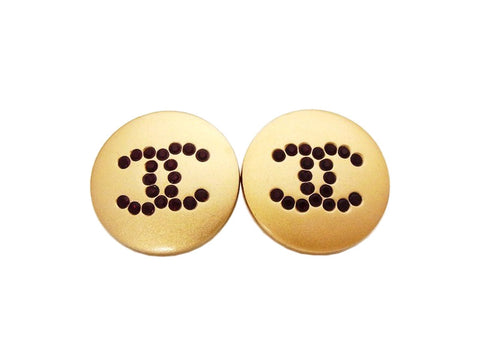 Authentic vintage Chanel earrings red rhinestone CC gold round real