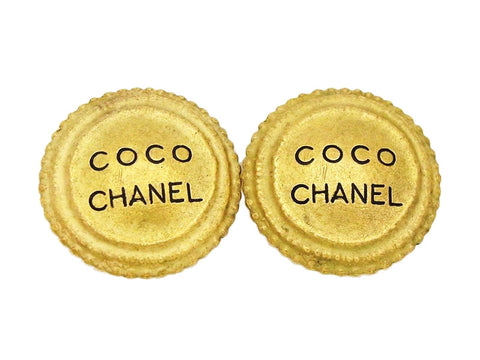 Authentic vintage Chanel earrings gold COCO logo large round jewelry