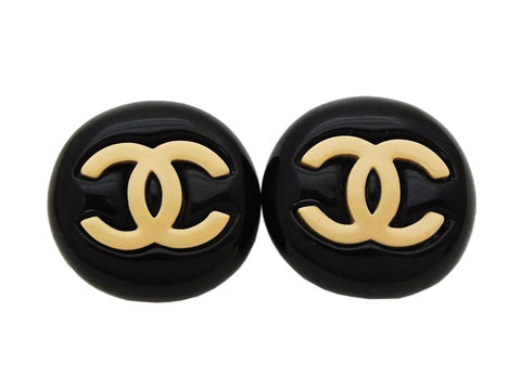 Authentic vintage Chanel earrings beige CC black plastic round real