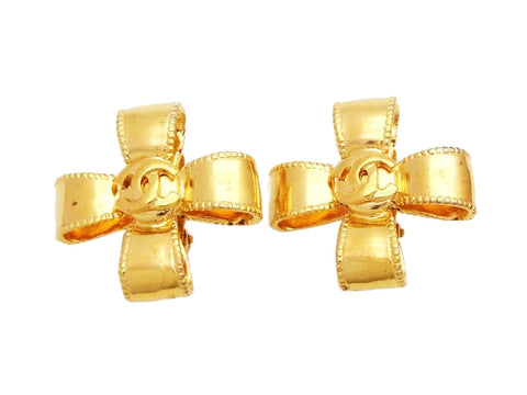 Authentic vintage Chanel earrings gold CC logo ribbon cross jewelry