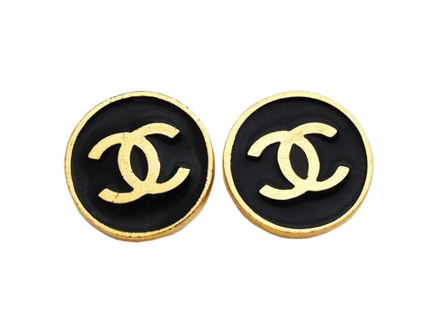 Authentic vintage Chanel earrings gold CC logo black round jewelry