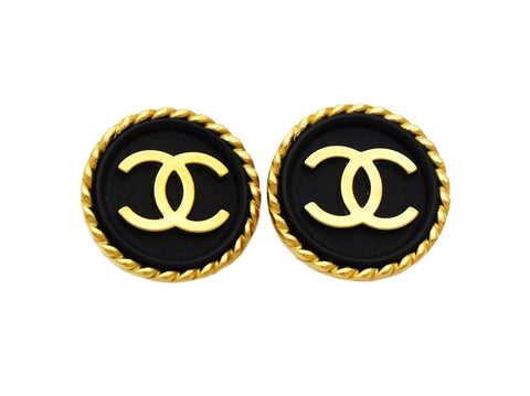 Authentic vintage Chanel earrings gold CC logo black button round real