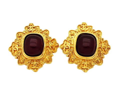 Authentic vintage Chanel earrings gold CC logo red glass stone rhombus