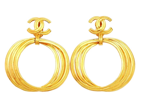 Authentic vintage Chanel earrings gold CC logo hoop dangle jewelry