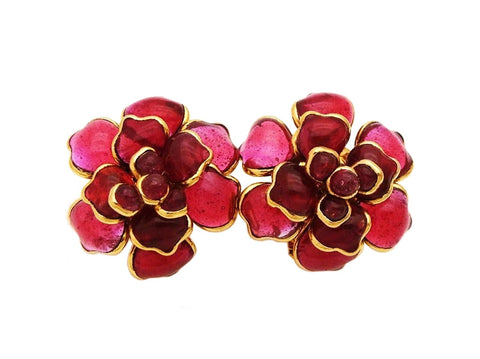 Authentic vintage Chanel earrings red gripoix glass camellia flower