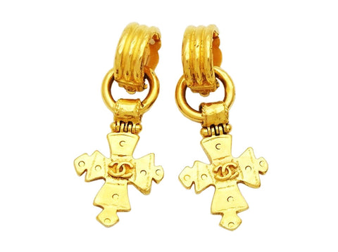 Authentic vintage Chanel earrings gold CC cross dangle 2 way jewelry
