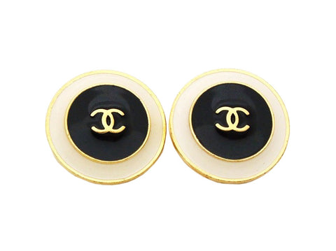 Authentic vintage Chanel earrings gold CC logo white black round real