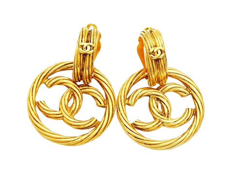Authentic vintage Chanel earrings twisted gold CC hoop dangle 2 way