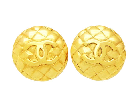Authentic vintage Chanel earrings gold CC logo quilted large round