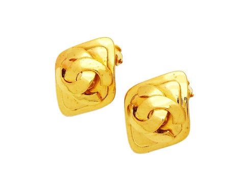 Authentic vintage Chanel earrings gold CC logo rhombus jewelry real