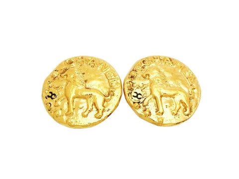 Authentic vintage Chanel earrings gold lion CC logo round classic